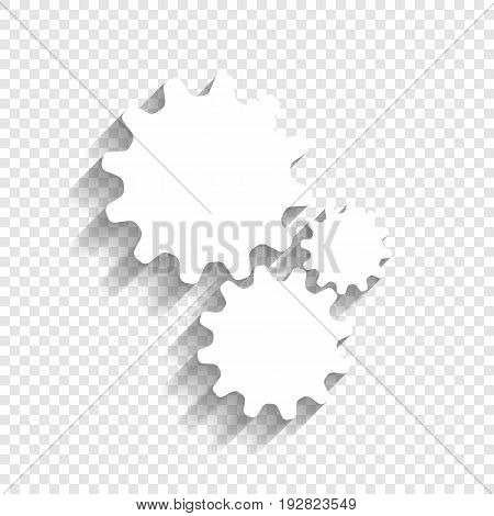 Settings sign illustration. Vector. White icon with soft shadow on transparent background.