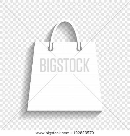 Shopping bag illustration. Vector. White icon with soft shadow on transparent background.