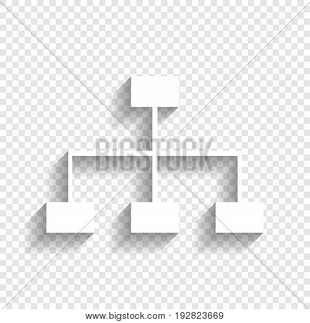 Site map sign. Vector. White icon with soft shadow on transparent background.
