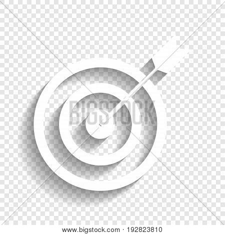 Target with dart. Vector. White icon with soft shadow on transparent background.