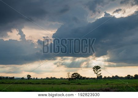 Storm formed Along with the sun through the clouds.dark tone