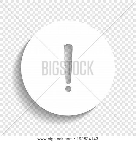Exclamation mark sign. Vector. White icon with soft shadow on transparent background.