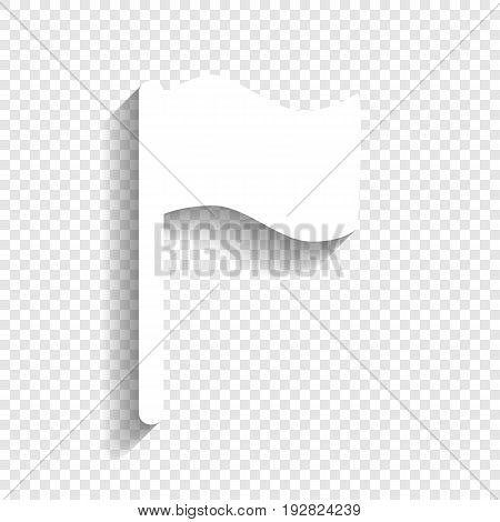 Flag sign illustration. Vector. White icon with soft shadow on transparent background.