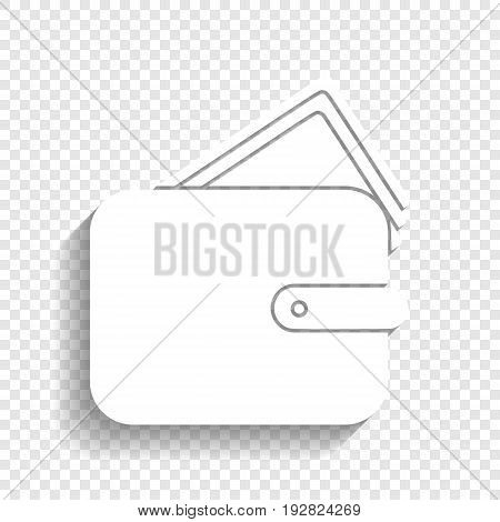 Wallet sign illustration. Vector. White icon with soft shadow on transparent background.