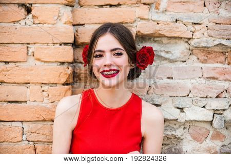 Happy Girl Smiling With Dental Braces On Teeth