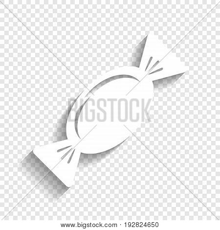 Candy sign illustration. Vector. White icon with soft shadow on transparent background.