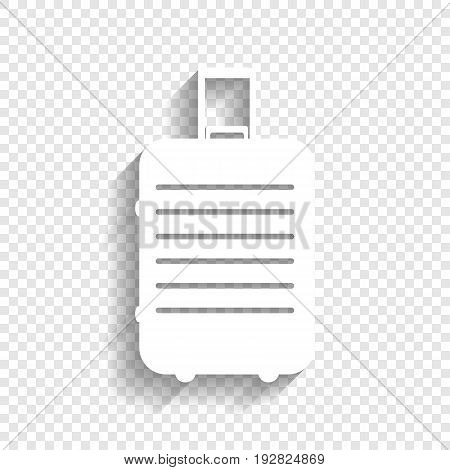 Baggage sign illustration. Vector. White icon with soft shadow on transparent background.