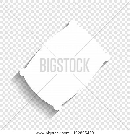 Pillow sign illustration. Vector. White icon with soft shadow on transparent background.