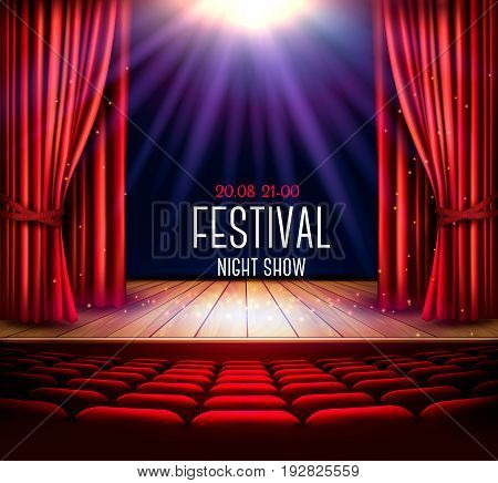 A theater stage with a red curtain and a spotlight. Festival night show poster. Vector.