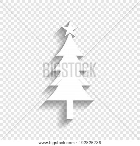 New year tree sign. Vector. White icon with soft shadow on transparent background.