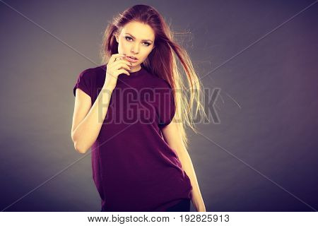 Attractive Brunette Woman With Windblown Hair