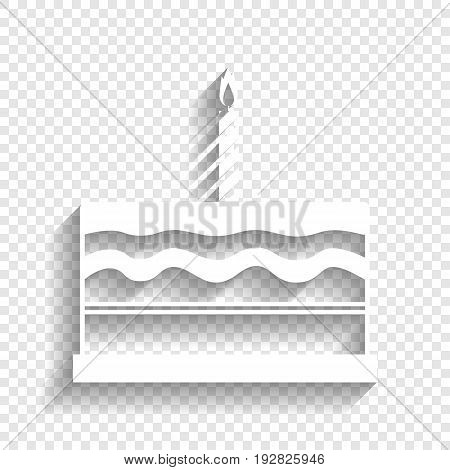 Birthday cake sign. Vector. White icon with soft shadow on transparent background.