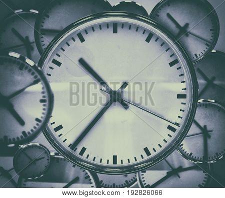 3d render: Clock Background, Time Concept, Toned Image