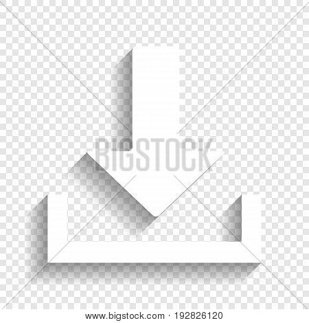 Download sign illustration. Vector. White icon with soft shadow on transparent background.
