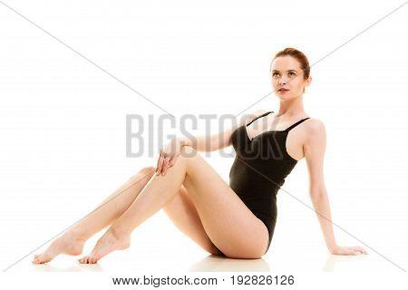 Attractive Woman In Black Swimsuit Style Underwear
