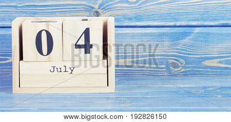 Vintage Photo, July 4Th. Date Of 4 July On Wooden Cube Calendar