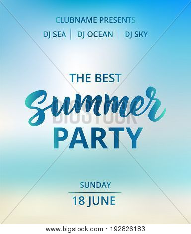 Summer party text, typography with brush lettering. Beach party poster concept. Abstract sky and sea bokeh background. Nautical and boat party design elements. Icons of anchor, boat, cocktail, palms.