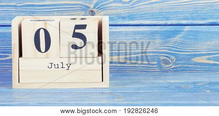 Vintage Photo, July 5Th. Date Of 5 July On Wooden Cube Calendar