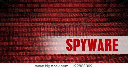 Spyware Security Warning on Red Binary Technology Background