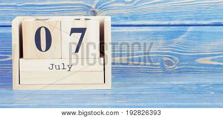 Vintage Photo, July 7Th. Date Of 7 July On Wooden Cube Calendar