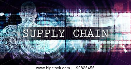 Supply chain Industry with Futuristic Business Tech Background 3D Illustration Render
