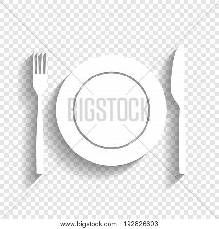 Fork, Knife and Plate sign. Vector. White icon with soft shadow on transparent background.