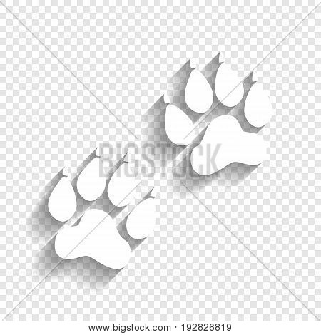 Animal Tracks sign. Vector. White icon with soft shadow on transparent background.