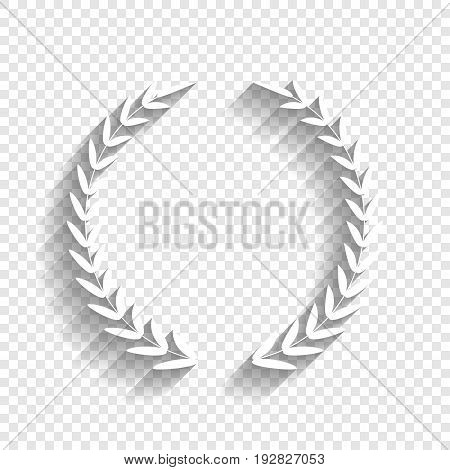 Laurel Wreath sign. Vector. White icon with soft shadow on transparent background.