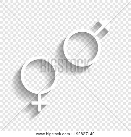 Sex symbol sign. Vector. White icon with soft shadow on transparent background.
