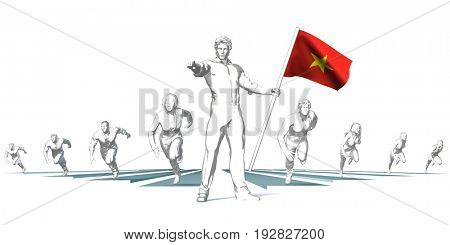 Vietnam Racing to the Future with Man Holding Flag 3D Illustration Render