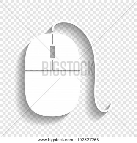 Mouse sign illustration. Vector. White icon with soft shadow on transparent background.