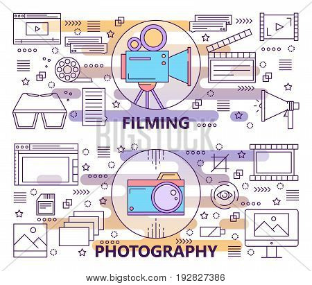 Vector set of Photography and Filming concept banners. Modern thin line flat design elements, icons for web, marketing and printing.