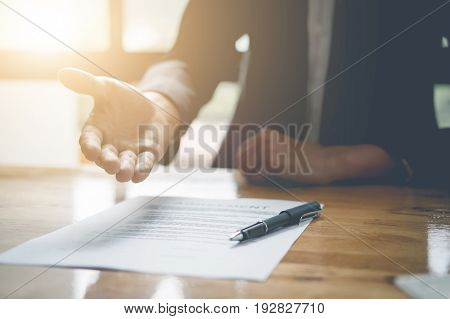 Real Estate Agent Offer Hand For Customer Sign Aggrement Contract Signature. Real Estate Concept