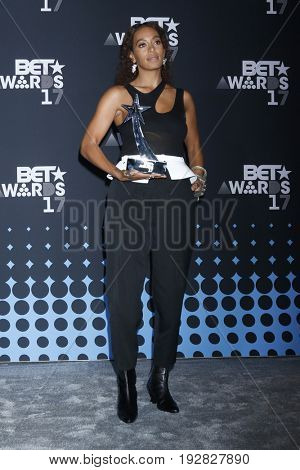 LOS ANGELES - JUN 25:  Solange Knowles at the 2017 BET Awards - Press Room at the Microsoft Theater on June 25, 2017 in Los Angeles, CA