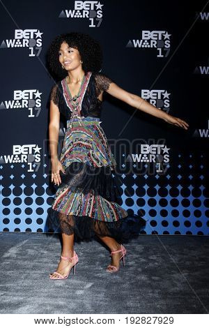 LOS ANGELES - JUN 25:  Yara Shahidi at the 2017 BET Awards - Press Room at the Microsoft Theater on June 25, 2017 in Los Angeles, CA