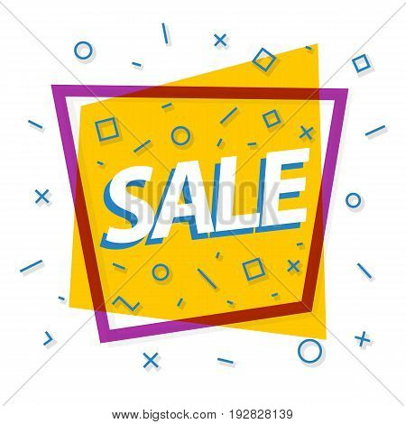 Sale banner yellow color with purple frame and different shapes for promotion, sale, black friday, special offer, advertisement, hot price and discount poster. Vector Illustration