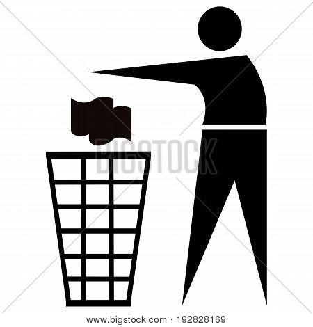 Do Not Litter anner basket bin button can clean
