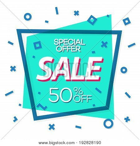 Sale banner green color with cyan frame and different shapes for special offer, advertisement, black friday, promotion, sale, hot price and discount poster. Vector Illustration
