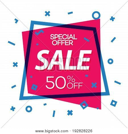 Sale banner red color with cyan frame and different shapes for black friday, special offer, advertisement, promotion, sale, hot price and discount poster. Vector Illustration