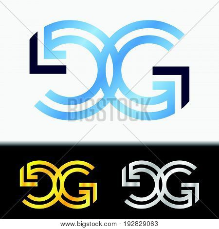 Initial letter GG premium blue metallic rotated lowercase logo template in white background, and custom preview in gold and silver color