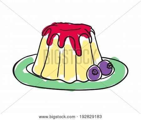 English cake hand drawn isolated icon. Great Britain culture element, patriotic vector illustration.