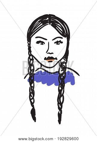 Eskimo woman hand drawn icon isolated on white background vector illustration. Northern ethnic culture element vector illustration.