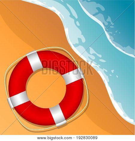Lifebuoy on the beach. Beach sea and sand. Vector illustration