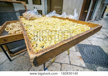 Fresh, Homemade Pasta On The Street Of Bari, Italy