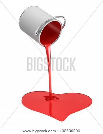 3d rendering of a red paint bucket overturned with paint leaking out into a heart shape puddle isolated on white background. Good quality paint. Hand-made projects. House rebuilding.