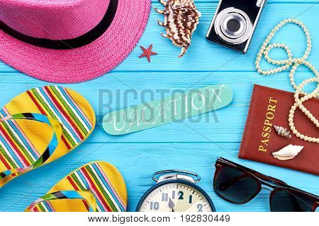 Decoration from women beach accessories. Essential female things for vacation abroad.