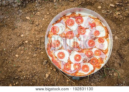Delicious Pizza In Oven Pan On Natural Ground