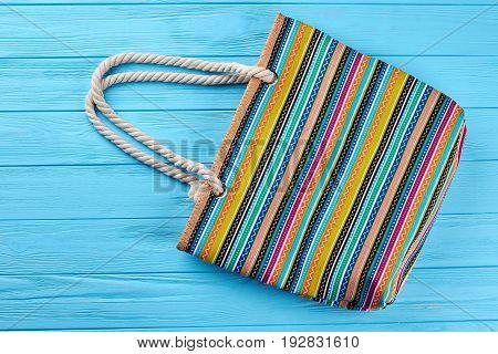 Striped women summer handbag. Female handbag for personal things.