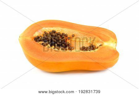 Papaya sliced isolated on white background ripe papaya fruit