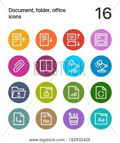 Colorful Document, folder, office icons for web and mobile design pack 2